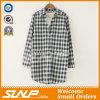 Frauen-lange Hülsen-beiläufige Baumwollplaid-Bluse