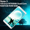 Smartphone Note 3 Mt6582 1.2GHz Quad Core RAM 512MB ROM 4GB 5.7 Inch 3G New Android Phones Coming