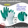 10g белый полиэстер / хлопок трикотажные перчатки с зеленым латекса морщин покрытия / EN388: 2242