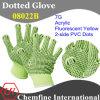7g Флуоресцентный желтый акрил трикотажные перчатки с 2-х сторон черный ПВХ точек