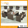 Moderno PE Plastic Wicker Rattan Patio Dining Furniture Restaurante Mesas e Cadeiras Outdoor Rattan Dining Set