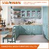 Gabinete de cozinha clássico da madeira contínua do estilo de vidro da porta do abanador