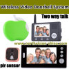 3.5inch+7inch Wireless Video Door Phone, 1camera avec 2 Monitor, Take Photo, Deux-voie Talk, PIR Sensor, Doobell (W004)