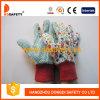 Palm Flower Design Red Wrist 정원 Glove (DGB201)에 녹색 Dots