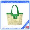 Bolsa verde da palha do verão