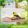 Grande alimentador plástico acrílico desobstruído do pássaro do indicador fácil instalar