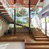 Escalier en verre de forme d'U avec la semelle d'escalier en bois solide