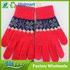 赤い暖かい厚い編まれたジャカード手袋厚く追加し、