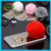 めっきミラーのウサギの毛皮の球のiPhone 7/6s/6のための柔らかい電話箱
