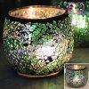 Suporte de vela de vidro decorativo barato por atacado dos mosaicos