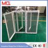 UPVC doble cristal verde se refleja ventana de bisagras con malla de mosquitos