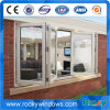 Ventana plegable de aluminio Vidrio de doble acristalamiento con parrilla Diseño