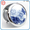 중국제 Blue와 White Porcelain Metal Pocket Mirror