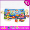 Puzzle en bois de la belle conception 2015 pour l'enfant, puzzle en bois d'animaux de mer pour des enfants, jouet en bois de puzzle de vente chaude avec les boutons W14m082