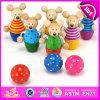 L'animal en bois tout neuf du jouet 2015, jouets éducatifs préscolaires, animal en bois forme le jouet W01A138 de bowling de jouet