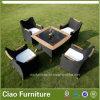 Стул таблицы ротанга роскошной мебели сада Wicker напольный с Teakwood