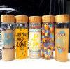 De creatieve Fles van de Sport van de Kop van het Glas van de Kop 600ml van de Gift met het Deksel van het Bamboe