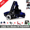 Um farol ajustado LED+Charger+Batteries do CREE T6