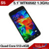 O Android 4.2.2 Mt6582 1.2GHz quad-Core S5 Smart Phone