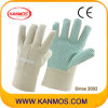 Белый дрель хлопок Ткань ПВХ точек Сад Рабочие перчатки (41008)