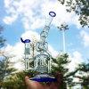 못 (ES-GB-613)를 가진 파란 유리제 연기가 나는 수관을 필터하는 배수