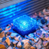 Piccolo indicatore luminoso solare del percorso del giardino, mattone di vetro 1 LED blu