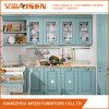 Luz - gabinete de cozinha azul da madeira contínua
