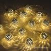 12 [لد] مهرجان زخرفيّة كرة خيط مصباح مع شمعيّة يزوّد