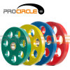 Siete placas revestidas del peso del hierro del caucho olímpico de los agujeros (PC-BP1045-1055)