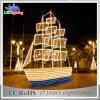 Luz al aire libre del barco de la suposición del paisaje de la decoración del adorno 3D LED del día de fiesta