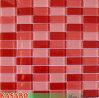 Mattonelle di vetro rosse della parete di Backsplash della cucina delle mattonelle di mosaico (KSL-C11193)