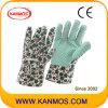 Печатные цветок хлопка Ткань ПВХ точек Сад Рабочие перчатки (41003)