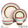 16PCS 4人のための手塗りの陶磁器の食事用食器セット