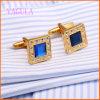 De Goud Geplateerde Manchetknopen van het Overhemd van het Kristal van de Manier van het Huwelijk van het Koper VAGULA Blauwe