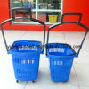 Supermercado Used Plastic Rolling Trolley Basket com Wheels