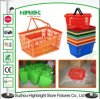 Double Handle Portable Plastic Shopping Basket pour Supermarket