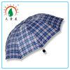 Diseño 170t Tejido de poliéster Checker 3 paraguas plegable