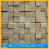 Mosaico de mármol beige travertino de Italia para los azulejos de la pared del cuarto de baño