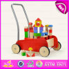 2015 Funny and Safe Wooden Cart Toy with Building Block, Eco-Friendly Wooden Block Cart Toy, Hot Sale Kid Wooden Toy Cart W16e028A