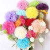 Flor de papel hecha a mano POM Poms de tejido para la decoración del banquete de boda