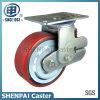 6  Eisen-Kern PU-einzelner Sprung-Schwenker-Shockproof Fußrollen-Rad