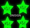 Etiqueta engomada luminescente sostenida de la estrella para el sitio oscuro