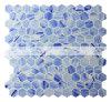 25X28mmのプール(BGZ024)のための青い組合せの六角形の熱い溶解のガラスモザイク