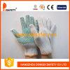 хлопок отбеливателя 7g и многоточия PVC перчаток работы полиэфира связанные шнуром зеленые на ладони (DKP104)