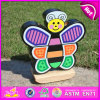 Cabrito de madeira de 2015 DIY que empilha o brinquedo do jogo, blocos de madeira da borboleta que empilham o jogo, bloco de madeira da borboleta DIY que empilha o brinquedo W13D060 do jogo