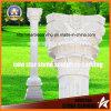 Flor blanca de Carrara que talla el pilar capital para la decoración