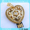 Gold Heart Pendant Shape Jewelry USB Pen Drive (ZYF1921)