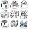 Handtaschen-Windmühlen-Haus-Geld-Beutel-Baby-Spaziergänger-London-Bus-Decklack-Gewinde-Charme-Silber-Charme-Raupen