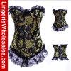 Negro de las mujeres con el corsé atractivo de la ropa interior floral del cordón del oro