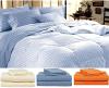 La hoja de cama de rey Blue Striped fijó 4 pedazos fijados